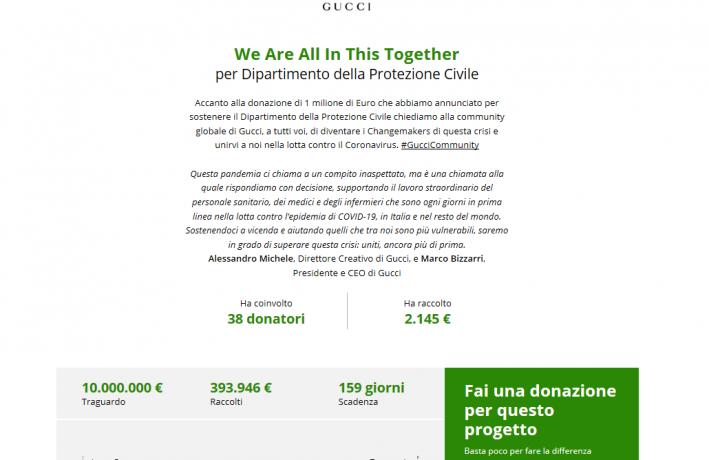 Doppia chiamata di Gucci alla sua community, raccolta fondi contro coronavirus