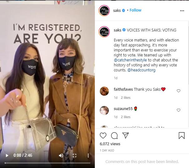 Elezioni Usa, Saks Fifth Avenue in campo con 'Register to Vote at Saks'
