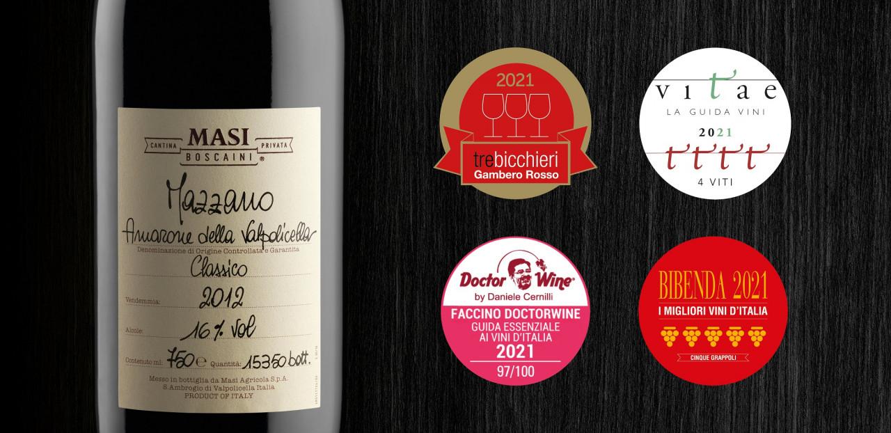 Vini Masi, al cru Mazzano 2012 Tre Bicchieri Gambero Rosso e 5 Grappoli Guida Bibenda